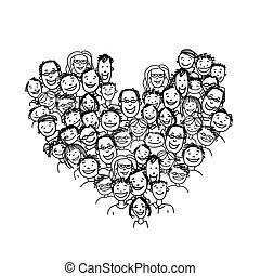 forme coeur, peuples, conception, ton, heureux