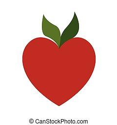 forme coeur, pomme, rouges