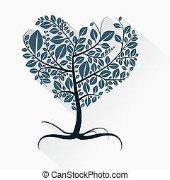 forme coeur, résumé, arbre, illustration, vecteur, racines