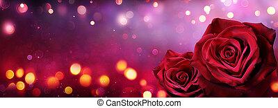 forme, coeur, roses, couple, lumières, rouges