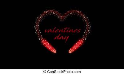 forme coeur, saint-valentin, animation, noir, 4k, fond, vidéo, rouges