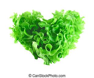 forme coeur, salade verte, salade