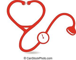 forme coeur, stéthoscope, logo
