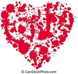 forme coeur, tache, rouges