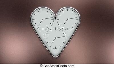 forme, coeur, timelapse, horloge