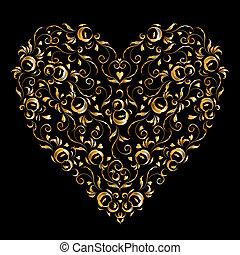 forme, coeur, ton, stylique floral, ornement