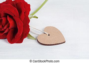 forme coeur, valentines, roses, carte, jour, rouges