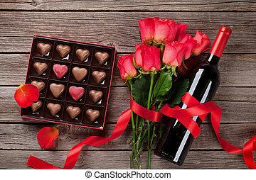 forme coeur, valentines, salutation, chocolat, jour, carte