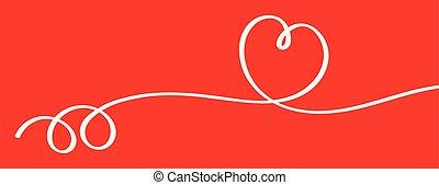 forme coeur, vecteur, arrière-plan rouge, ruban