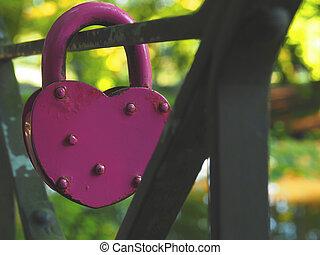 forme coeur, vieux, cadenas