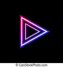 forme, coloré, signe, triangle, isolé, néon, gabarit, icon., incandescent, flèche, couleurs claires, noir, vecteur, fond, gradient