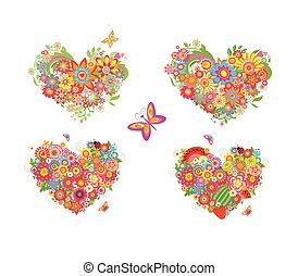 forme cuore, con, fiori coloriti, e, frutte