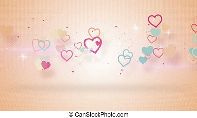 forme cuore, con, uggia, seamless, cappio, animazione