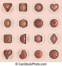 forme, differente, cioccolati, vista superiore