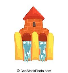 forme eau, aquapark, illustration, diapositives, équipement...