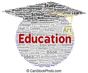 forme, education, mot, nuage