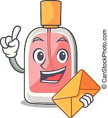 forme, enveloppe, parfum, botlle, dessin animé