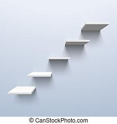 forme, escalier, étagères