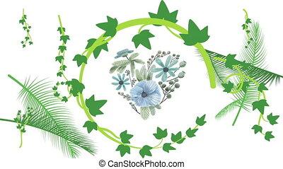 forme, feuilles, fond, collection, types, différent, coeur, cercle