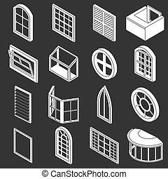 forme, finestra, set, grigio, icone