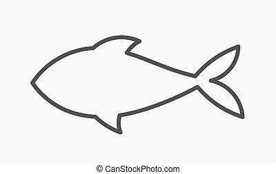 forme, fish, icon., contour