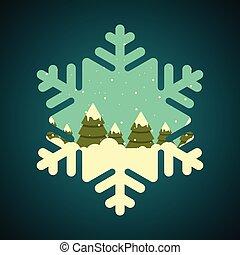 forme flocon neige, frontière, hiver, forêt