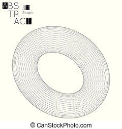 forme géométrique, arrière-plan., wireframe, isolé, torus, blanc, résumé, 3d