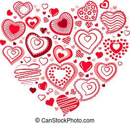 forme, hjerte, lavede, kontur, rød