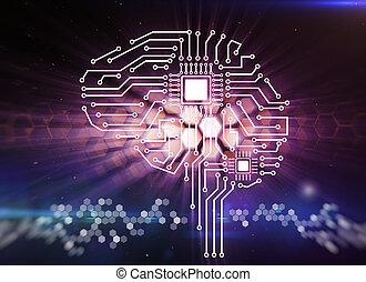 forme humaine, cerveau, panneau ordinateur, circuit