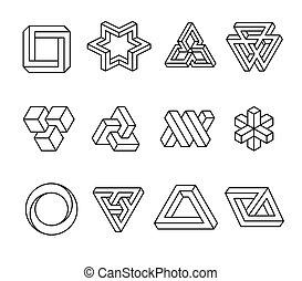 forme, impossibile, bianco, vettore, illustrazione, illusione, objects., ottico, fondo., isolato