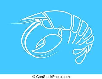 forme, logo, écrevisse, cancer, contour, écrevisse, homard