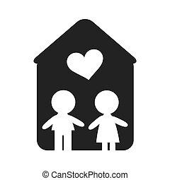 forme, maison, couple, intérieur