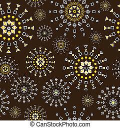 forme, marrone, geometrico, fiori, fondo