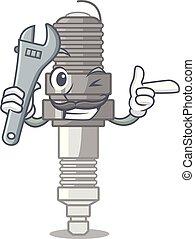 forme, miniature, dessin animé, bougie, mécanicien