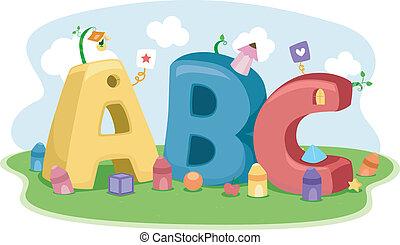 forme, pastelli, lettere