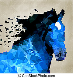 forme, résumé, géométrique, cheval, symbole