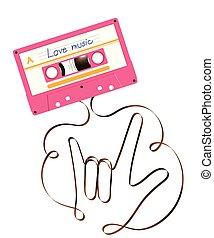 forme, signe, compact, bande, blanc, audio, vous, espace illustration, analogue, cassette, amour, fond, main, magnétique, langue, copie, rose, couleur, fait