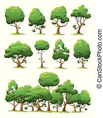 forme, vario, set, vettore, albero
