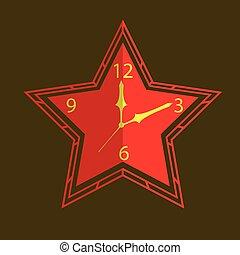forme, vecteur, étoile, horloge