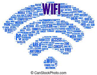 forme, wifi, mot, nuage