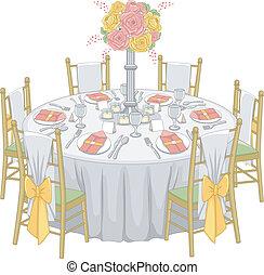 formeel, ontvangst, tafel