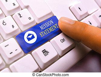 formel, écriture, business, note, résumé, showcasing, valeurs, projection, vise, company., mission, statement., photo