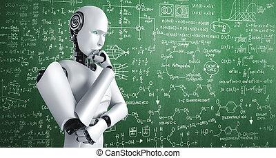 formel, ai, mathematik, humanoid, schirm, denken, wissenschaft, analysieren, roboter