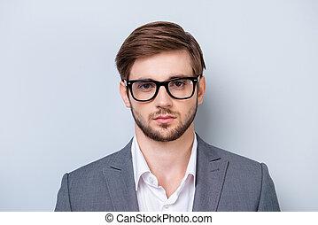 formel, backgroung, lumière, lunettes, directement, sérieux, appareil photo, portrait, coup d'œil, bleu, vêtements, jeune regarder, homme, profond