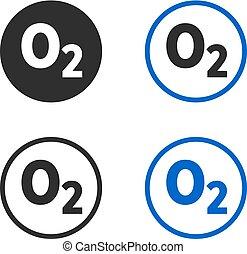 formel, sauerstoff, ikone