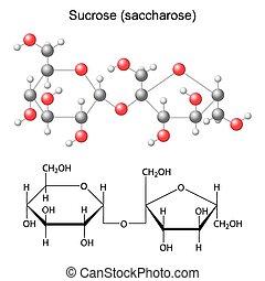 formel, strukturell, modell, sucrose, chemische