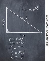 formel, triangel, pytagoreisk, rättighet