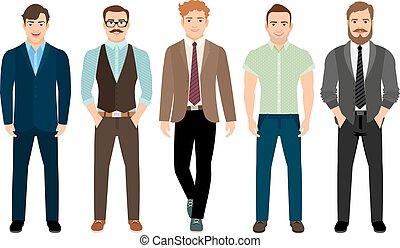 formell, stil, män, affär, stilig