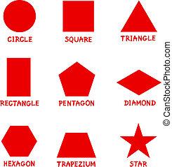 formen, captions, geometrisch, grundwortschatz