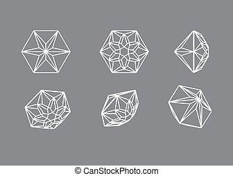 formen, diamant, sammlung